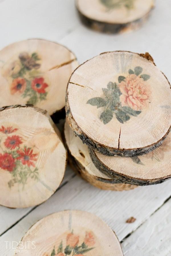 Secciones de tronco floral de bricolaje