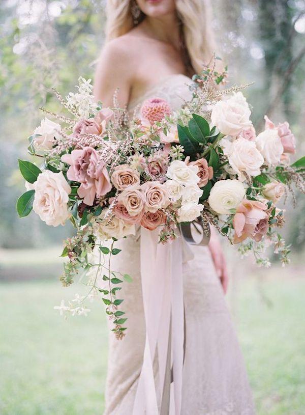 ramo romántico rosa y blanco