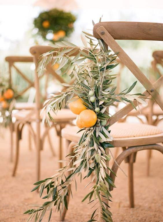 decoración de la silla de limones