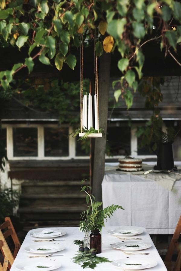 Centro de mesa colgante de bricolaje con velas