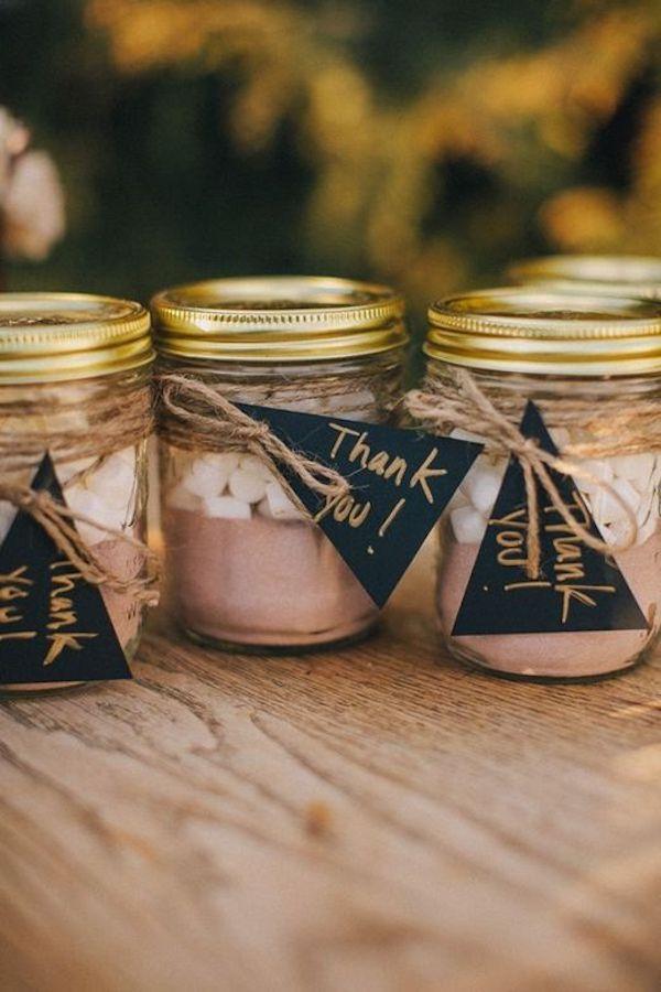 mezcla de chocolate caliente    favores para una boda de otoño