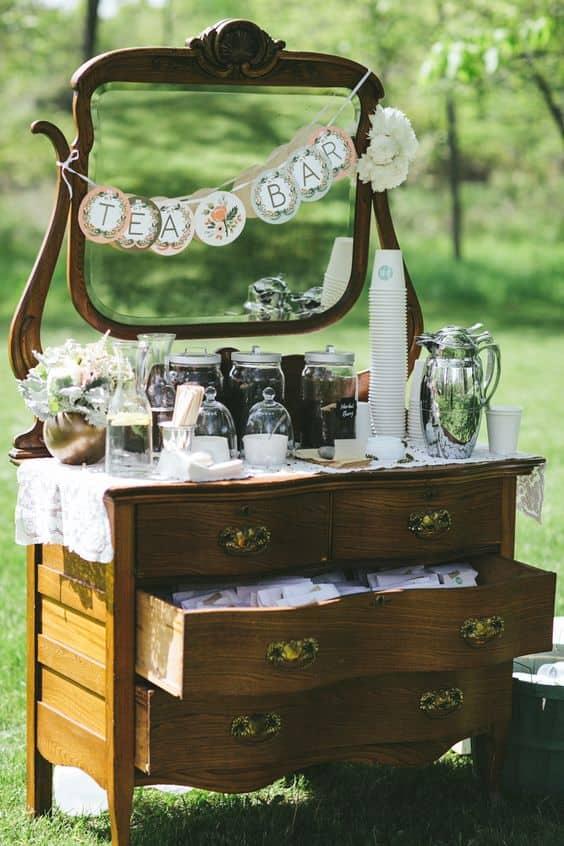boda en la barra de té