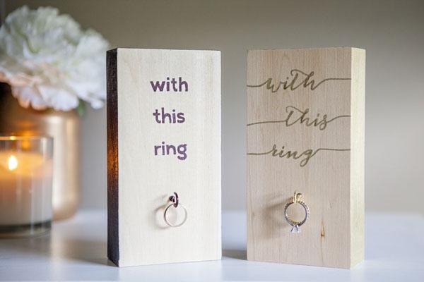 Soporte de anillo de boda de madera para bricolaje