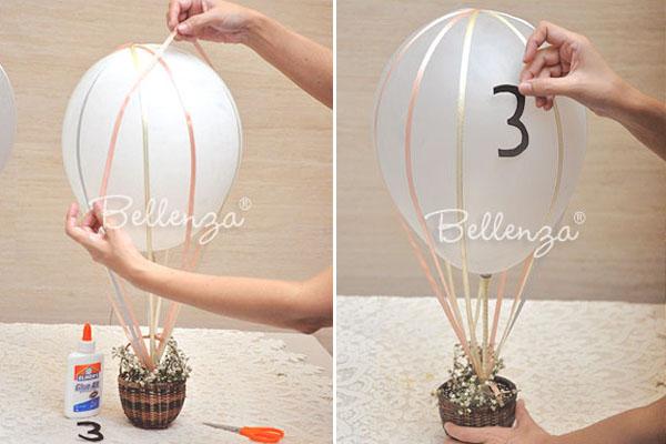 Marcadores de mesa de globos de bricolaje
