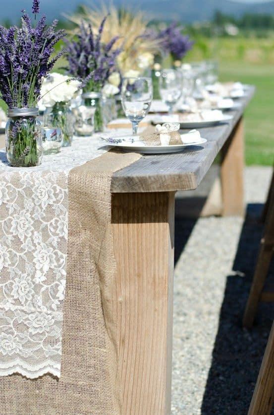 centro de mesa de boda lavanda