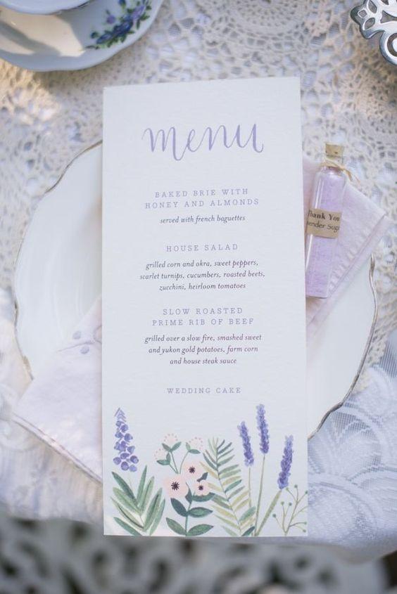 menú de boda lavanda