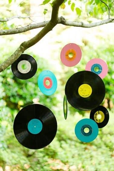Boda vintage. Decoracion discos de vinilo