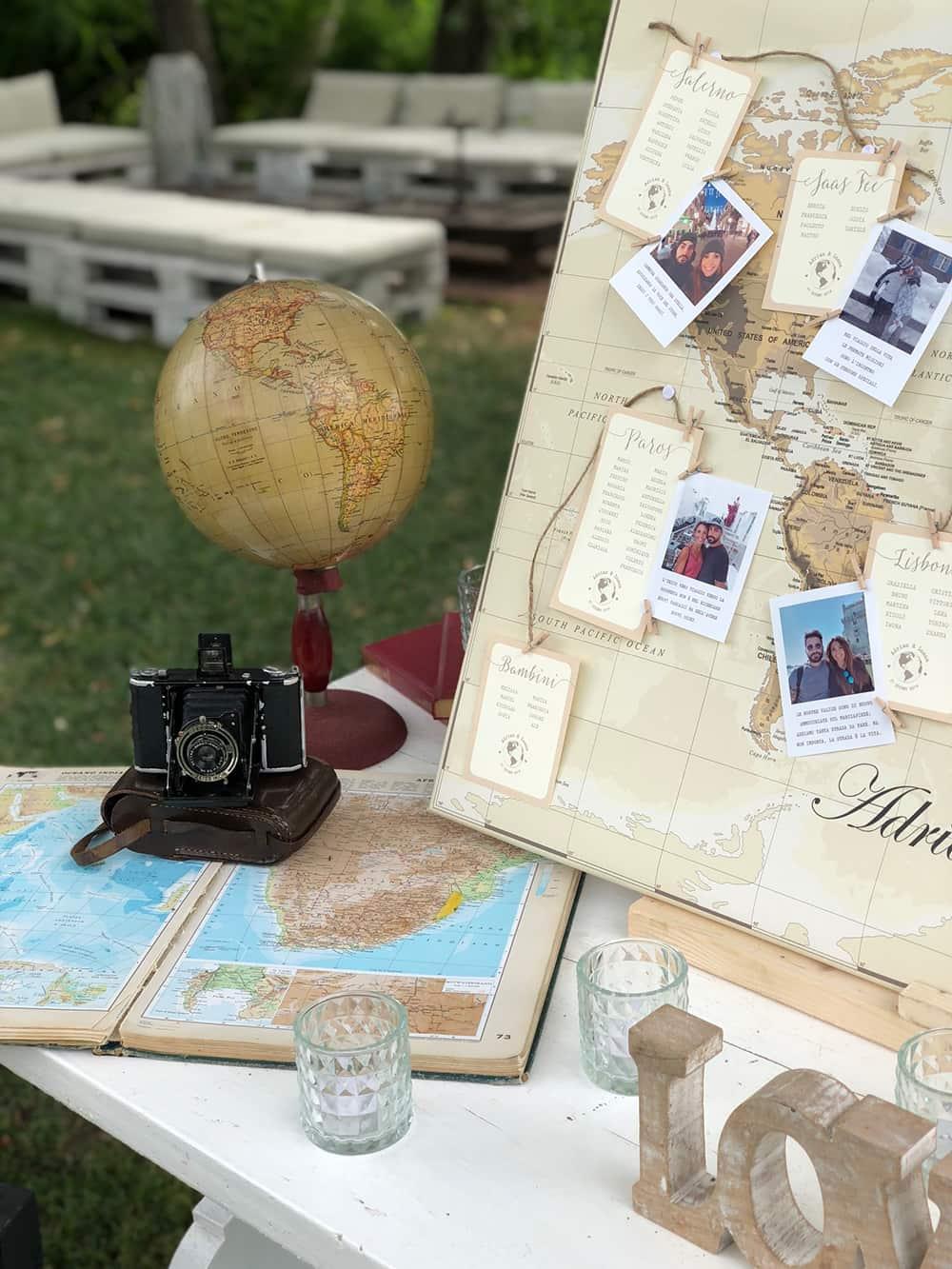 boda temática viajes y vintage
