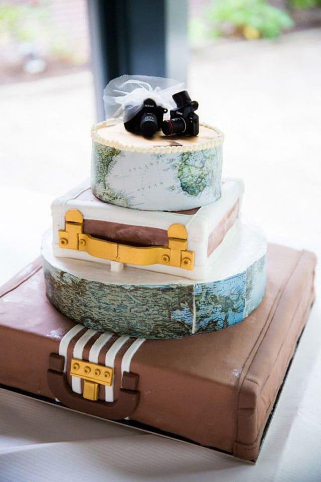 boda temática viajes .maletas de pastel de boda