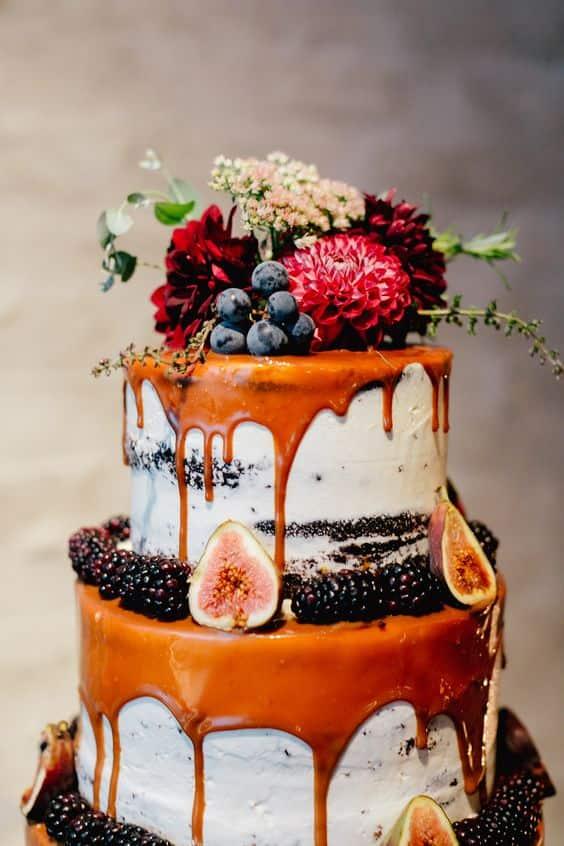 pastel de bodas de otoño