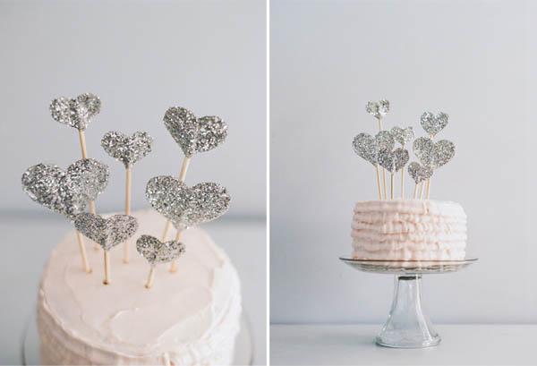 topper de la torta de corazones de brillo