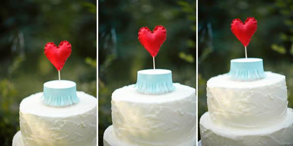 adorno de torta de corazón de tela