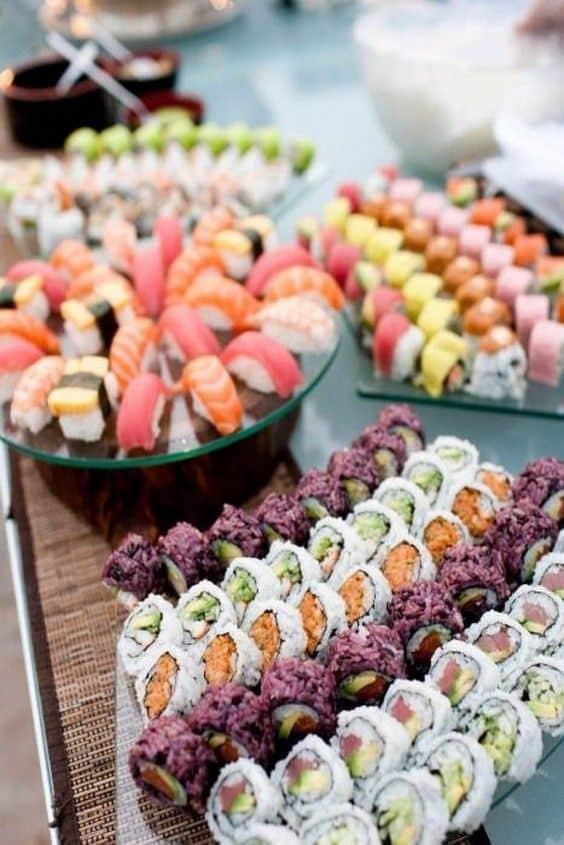 barra de sushi de boda