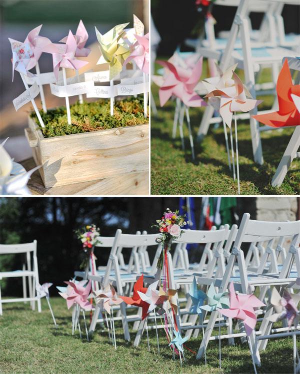Molinetes de boda de bricolaje