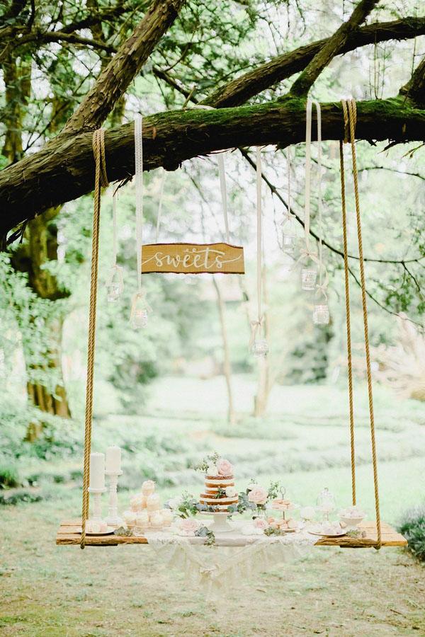 mesa dulce romántica rosa y verde