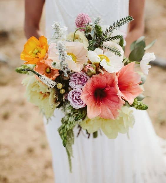 Boda tematica hawaiana.Ramo de boda hawaiano