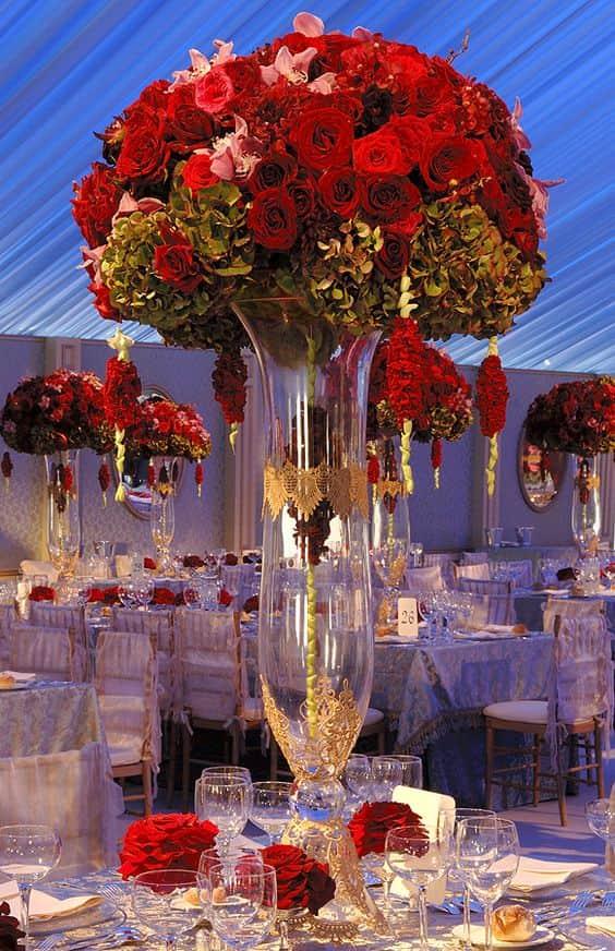 rosas de centro de mesa