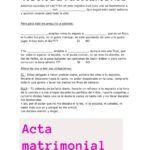 Acta matrimonial. Acta de matrimonio